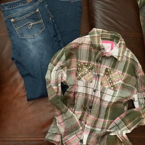 Girls Justice outfit 16 jeans shirt